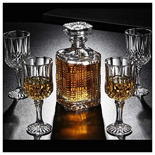 LSRRYD 7 stuks whisky karaf en glazen set loodvrije kristal met afdekking whiskey decanter capaciteit 750 ml voor mannen Dad husband B