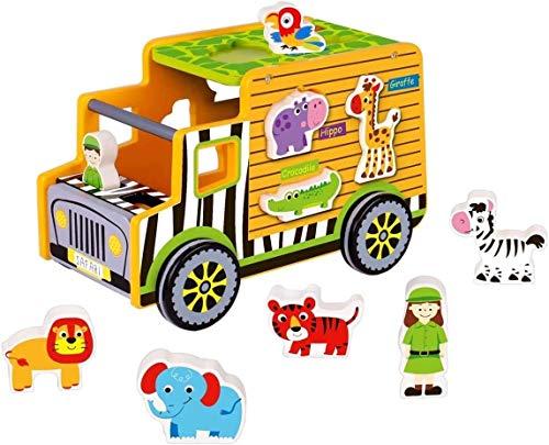 Safari-Truck aus Holz / Verschiedene Tiere zum Stecken und Spielen / 2 Ranger / Leise Laufräder