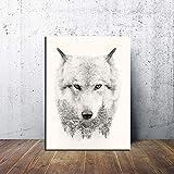 Cuadro de arte de pared moderno, foto HD, ojos feroces, nieve blanca, lobo, bosque, lienzo, pintura, póster impreso, sala de estar, dormitorio, oficina, decoración del hogar