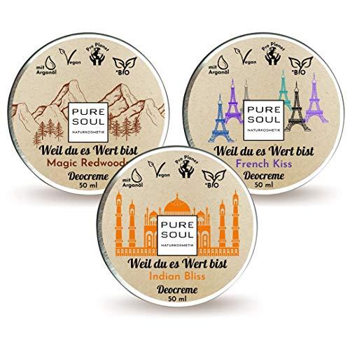 Set 3 x 50 ml   Unisex   Bio Deodorant ohne Plastik   Deocreme Naturkosmetik   ohne Aluminiumsalze   für Männer und Frauen   Plastikfrei   Natürliche Wirkung   Cremedeo   Festes Deo   (Musketiere)