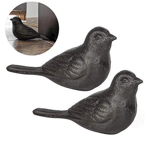 Livfodrm Tope para puerta de suelo, pesado, diseño de pájaro, decorativo, de hierro fundido, 2 unidades
