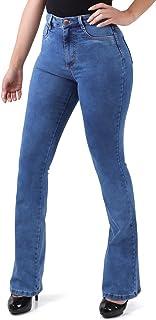 Calça Flare Jeans Feminina Super Lipo Sawary Cintura Alta