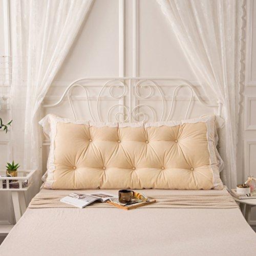 MMM- Coussin de lit de dentelle de coton Coussin de lit de chevet de grand coussin ( Couleur : Beige , taille : 150*75cm )