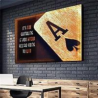 DIHEFAキャンバスウォールポーカー英語ポスターキャンバスプリントオフィスデコレーションタブロー壁画北欧スタイルベッドルームキャンバスアート 40x60cmフレームなし