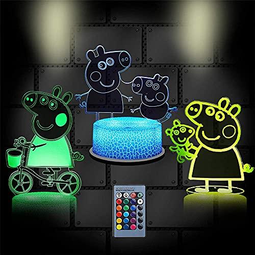 Cartoon Pig Lámpara de ilusión 3D Luz de noche Óptica Mesita de noche Luces de noche Iluminando la lámpara de los niños 16 Color cambiante botón táctil USB Cable Decoración lámparas de escritorio