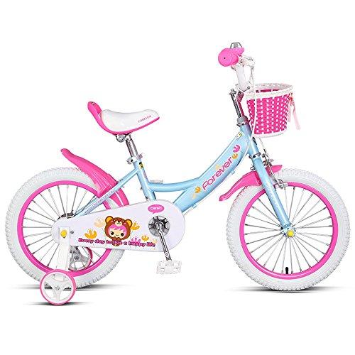 Bicycle LVZAIXI Vélo pour Enfants, Cadre d'alliage d'aluminium de 14/16 Pouces, garçons et Filles Poussette de bébé de 3-8 Ans (Couleur : Bleu, Taille : 16 inches)