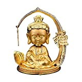 Feng Shui Guan Yin Statue Ornements Décoration de la Maison, Déesse Mercy Kwan Yin Sculpture Décoration de la Machine à Domicile, Cadeau,d'or