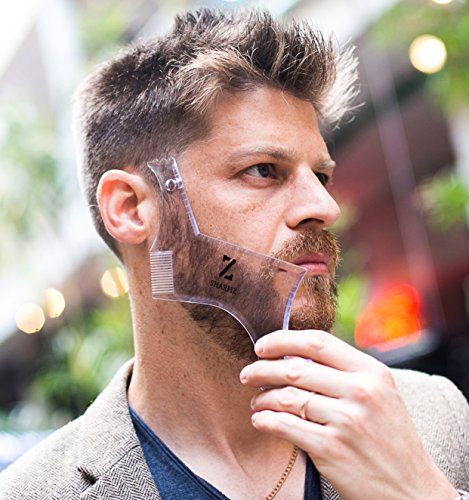 Multi Curve Beard Shaping Template Tool by Sharpiz | Transparent Stencil Shaper Liner for Styling with Trimmer, Razor, Clippers | A Perfect Gift Including a Lineup Pencil & Grooming Guide