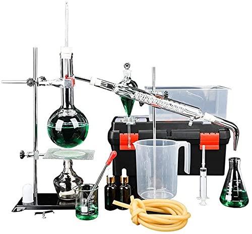 LSWY Equipo de Vida Laboratorio Destilación Unidad 1000ml Espesado Frasco Hogar Essential Aceite Extracción Dispositivo Experimento Químico Equipo Equipo Escolar Equipo de enseñanza