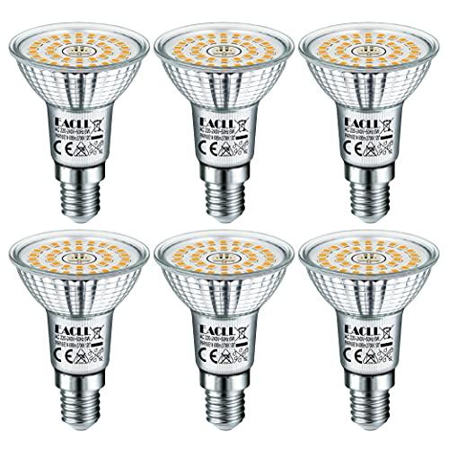 EACLL E14 LED Warmweiss 6W Ersetzt 60W R50 Halogen Glühlampe, 6er-Pack. 2700K 695 Lumen Leuchtmittel, AC 230V Flimmerfrei Energiesparlampe, Abstrahlwinkel 120° Strahler Nicht Dimmbar Reflektorlampen