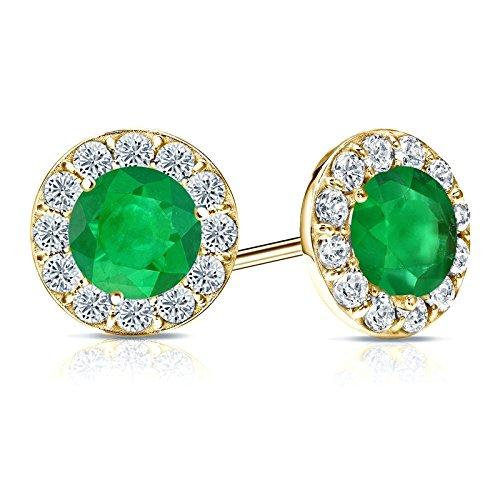 14K Amarillo Chapado en oro pendientes de auténtica 92,5de plata de Halo redondo verde esmeralda y zafiro Stud Pendientes 3,00CT TW
