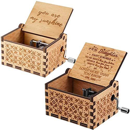 NEPAK 2 Pack Caja de música, Caja de música Retro clásica Hecha a Mano de Pure Hand-Classical Wooden Music Box Eres mi Sol Regalo de mamá a Hija