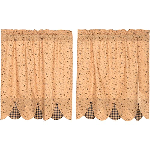VHC Brands Maisie Tier Set of 2 L36xW36 Country Curtains, Tan