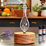 Aromatherapy Diffuser - Professional Grade - Wood and Glass (Solum Lux Merus), Premium, Essential Oil Diffuser, Oils Humidifier, Nebulizer, Nebulizing Professional Machine, Waterless