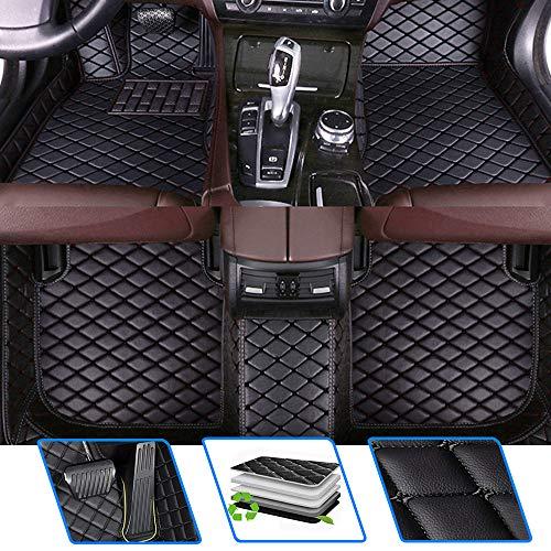 Qiaodi Alfombrillas de coche para P Peugeot 407 2004 – 2017, impermeables, antideslizantes, material de piel, cobertura completa, juego de alfombrillas de color negro