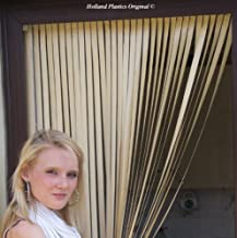 Holland Plastics Original Brand Slat Type Door Curtain/Fly Blind with Pair of Screw in Hooks for Wooden Frames - All Cream