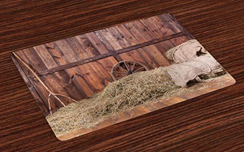 ABAKUHAUS Scheune Holz Wagon Wheel Platzmatten, Ländliche alte Pferdestall-Scheunen-Innenraum-Heu-und Holzplanken-Bild-Druck, Tiscjdeco aus Farbfesten Stoff für das Esszimmer und Küch, Braun Sand