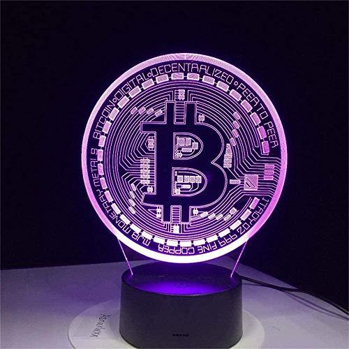 Lámpara de ilusión óptica LED 3D de luz nocturna Bitcoin 16 cambio de color lámpara de decoración – Regalo perfecto para niños y habitación decoración