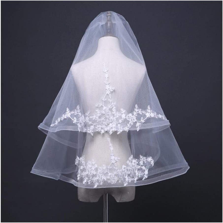 Bridal Veil 2 Tier Lace Silver Lined Wedding Veil Length Bridal Wedding Accessories Beautiful Appliques Edge Elbow 829