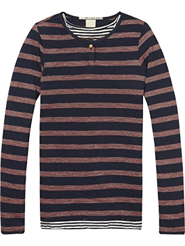 Scotch & Soda R'Belle Two-in-One Lurex Stripe T-Shirt Camiseta, Multicolor (Combo A...