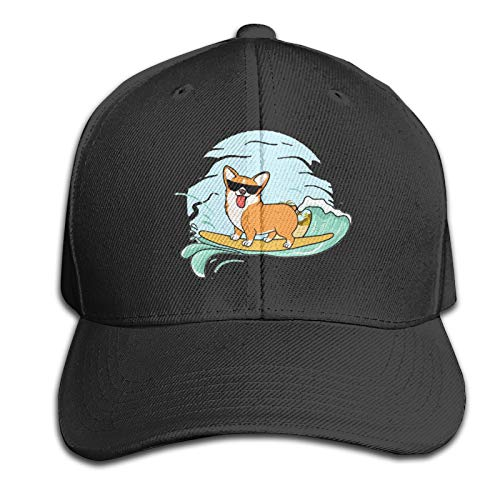 Sombrero adulto Corgi Butt Pegatinas,Cuelgue la gorra de béisbol floja bordado algodón ajustable Papá sombrero/negro
