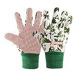Gardening Gloves for Women(2 Pairs) Comfortable Breathable Non-Slip Flexible. (white flower)