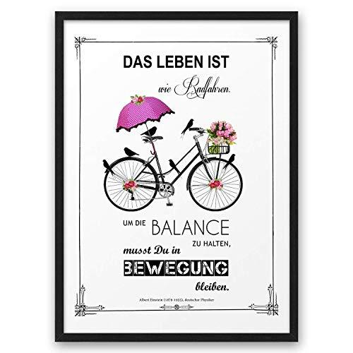 Das Leben ist wie Radfahren ABOUKI Kunstdruck Poster Bild mit Einstein Zitat Geschenk-Idee für Sie Ihn Frauen Männer Freund Freundin Familie optional mit Holz-Rahmen