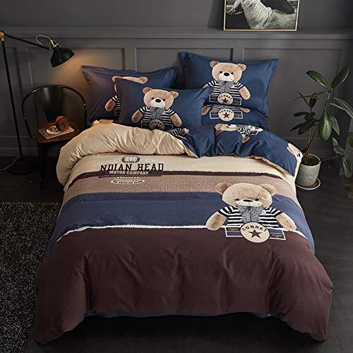 yaonuli Baumwolle Schleifen vierteilige Verdickung warme Kit Baumwolle Aktivschleifen doppelte vierteilige Tuch di Bär 2,0 m breites Bett