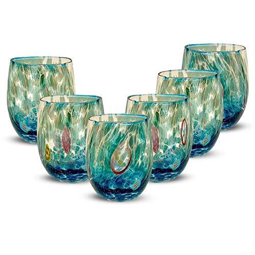 Gocce di Murano Set 6 Bicchieri Arcobaleno Pioggia in Vetro di Murano soffiato 240ml Lavorazione a Mano Colorati Confezione 6 calici per Acqua Eleganti e preziosi (Acquamare, 6)