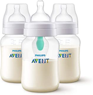 Philips Avent Anti-Colic Bottles (260 ml, Triple Pack) with AirFree Vents for Reducing Colic, Wind and Reflux – SCF403/35