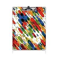 クリップボード アート ミニバインダー 斜めの幾何学的図形抽象的なカラフルなモダンなデザイングラフィックフィギュア印刷 用箋挟 クロス貼 A4 短辺とじ多色