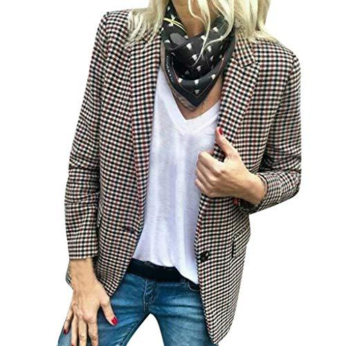 FRAUIT Damen Karierter Anzug Blazer-Mantel-Jacke Outwear-Strickjacke Mode Cardigan Kurzmantel Geschäft Kleidung Weich Bequem Outwear Mode Elegant Wunderschön Streetwear Coat