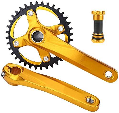 MHUI De Bicicletas De Montaña Y Bielas Conjunto, De Aleación De Aluminio MTB Crank 104BCD 34-38T Oval Redondo Plato Inferior Pernos del Soporte (38T),Amarillo