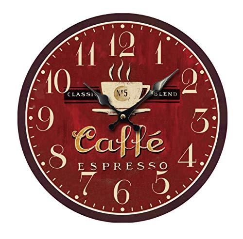 Reloj Redondo De Pared Café Vintage Reloj De Madera para Sala De Estar,Habitaciones,Cocina,Hogar Décor