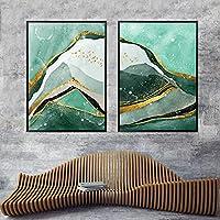 プリントキャンバス抽象グリーンホワイトリバーゴールデンラインウォールアート絵画北欧ポスタープリント画像リビングルームの装飾60x90cmx2フレームレス