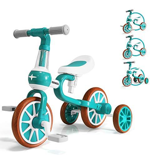 KORIMEFA 4 in 1 Bicicletta Senza Pedali per Bambini 2-4 Anni Triciclo per Bambini 2 Anni Ragazzo e Ragazza (Verde)