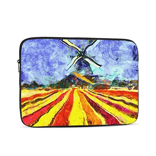 Bolsa de manga para computadora portátil Palette Amsterdam Dutch Windmill Tulip Archivado Pintura Impresionista Rojo Gogh Van Agriculture Artista Portátil Cremallera Funda para tableta Bolsa Bolsa pro