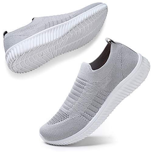 STQ Damen Mesh Slip On Sneakers Walking Outdoor Gym Bequem Leichte Atmungsaktiv Freizeitschuhe(Grau39)