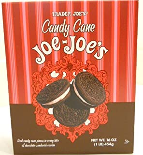 Trader Joes Candy Cane Joe Joes Sandwich Cookies Real Candy Cane Pieces in Every Bite !!! Limited Edition for the Festive Season Limited Quantities At Trader Joes 16oz