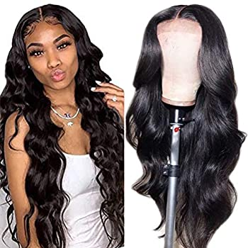 4x4 Body Wave Lace Closure Human Hair Wigs Brazilian Lace Front Wigs Human Hair for Black Women 150% Density Pre Plucked with Baby Hair Bleached Knots  20inch Body Wave Wig
