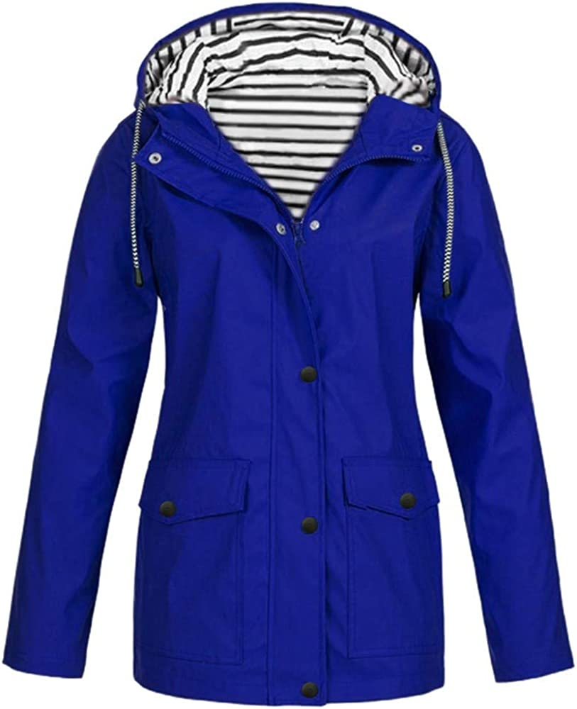 KOPLTYRFG Womens Raincoats Lightweight Outdoor Zip Up Jacket Hoodies with Regular and Plus Sizes