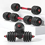 RUNWE Adjustable Dumbbells Set of 2, Barbell Weight Sets for Home Gym, Adjustable Weights for Exercises, Adjustable Dumbbell Barbell Set (40lb Each 80lb Total)