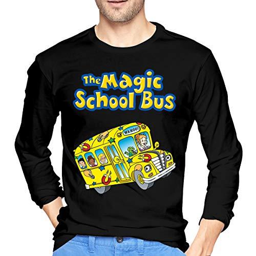 U are Friends T-Shirt de Sport à Manches Longues pour garçon avec Logo de Magic School Bus Logo pour Homme(Noir)