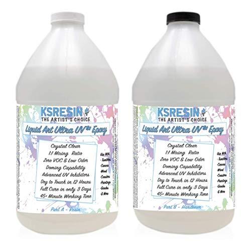 Liquid Art Ultra UV Clear Epoxy Resin Coating for Canvas & Wood Art - 1 Gallon Kit