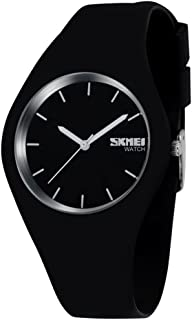 TONSHEN Simple Fashion Analog Quartz Watch Rubber Band Casual Style Wrist Watches for Women Girl 12 Colours (Black)