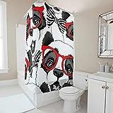 Sweet Luck Lustig Panda Duschvorhang Anti-Schimmel Wasserdicht Waschbar Stoff Duschvorhänge Polyester Textil Badewannevorhänge mit Duschvorhangringen für Dusche
