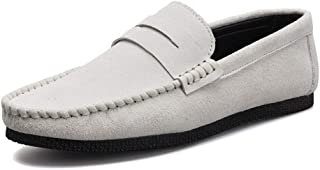 LFSP Mens Penny Loafers Boat Shoes Driving Loafer for Men Boat Moccasins Slip On Suede Leather Classic Lightweight Round Handmade Flats Leisure Shoes A (Color : White, Size : 43 EU)