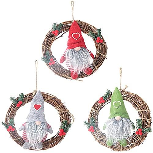 XinLuMing Navidad Divertida Corona de ratán, guirnaldas de Navidad de 3 Paquetes de Navidad Decoraciones de Navidad (Color : A)
