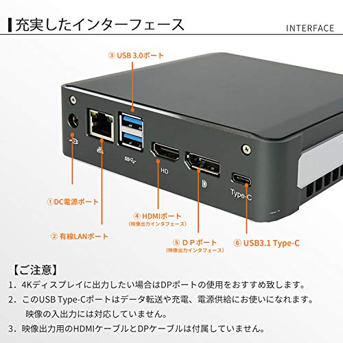 『Skynew 小型パソコン ミニPC Core i7-8565U / メモリ 8GB DDR4L / ストレージ 256GB SSD、1TB HDD / Windows10 Pro / 4K対応 2画面同時出力 PXEブート WOL RTC 高速 小型PC デスクトップ ミニパソコン 品番K6』の3枚目の画像