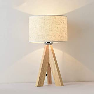 Mengjay Lampe de Chevet en Bois à Trépied, Lampe de bureau,Abat-jour Classique en tissu, Parfait pour Chambre, Salon, Sall...